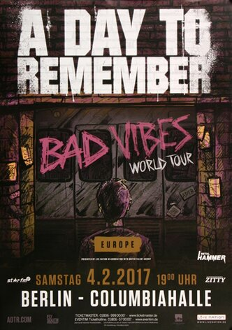 A Day To Remember - Bad Vibes , Berlin 2017 - Konzertplakat