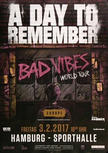 A Day To Remember - Bad Vibes , Hamburg 2017 - Konzertplakat