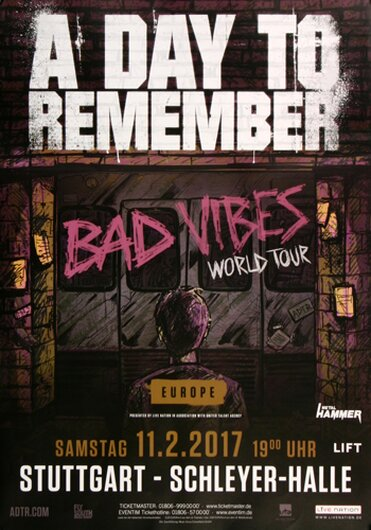 A Day To Remember - Bad Vibes , Stuttgart 2017 - Konzertplakat