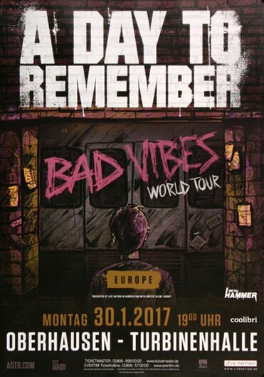A Day To Remember - Bad Vibes , Oberhausen 2017 - Konzertplakat