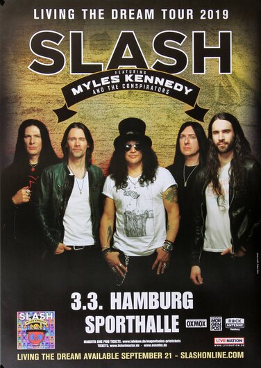 Slash - Living The Dream, Hamburg 2019 - Konzertplakat