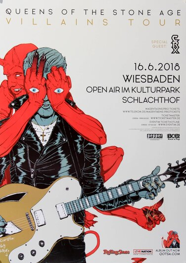 Queens Of The Stone Age - Villains Tour, Wiesbaden 2018 - Konzertplakat