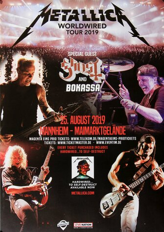 Metallica - Worldwired, Mannheim 2019 - Konzertplakat