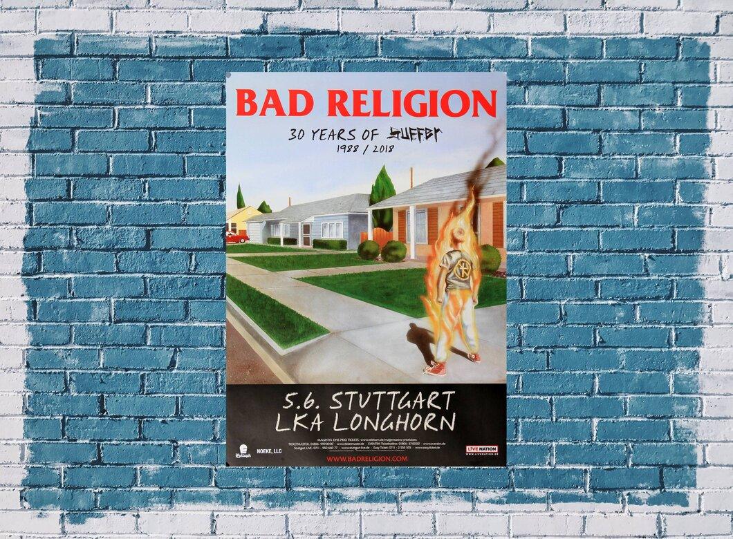 bad religion 30 years of suffer stuttgart 2018 konzertplakat 24 90. Black Bedroom Furniture Sets. Home Design Ideas