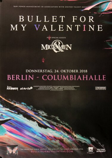 Bullet For My The Valentine - Gravity, Berlin 2018 - Konzertplakat