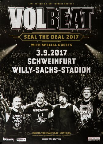 Volbeat - Seal The Deal, Schweinfurt 2017 - Konzertplakat