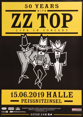 ZZ Top - Big Bad Blues, Halle 2019 - Konzertplakat