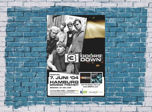 3 Doors Down - Here Without You, Hamburg 2004 - Konzertplakat