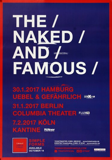The Naked And The Famous - Simple Forms, Tour 2017 - Konzertplakat
