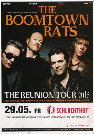 The Boomtown Rats - Live On Tour, Wiesbaden 2015 - Konzertplakat