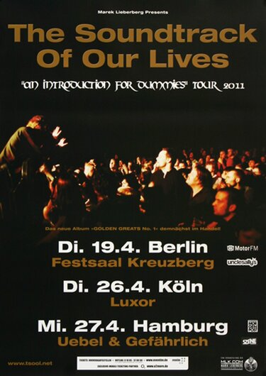 The Soundtrack Of Our Lives - Immaculate Convergence, Tour 2011 - Konzertplakat