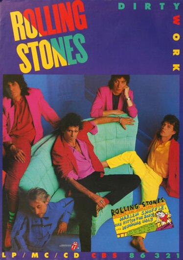 The Rolling Stones - Dirty Work Live,  1985 - Konzertplakat