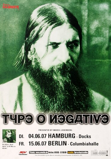 Type O Negative - Dead Again, Hamburg & Berlin 2007 - Konzertplakat