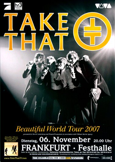 Take That - Beautiful World, Frankfurt 2007 - Konzertplakat