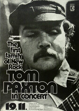Tom Paxton - Peace Will Come, Frankfurt 1971 - Konzertplakat