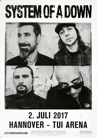 System Of A Down - Toxicity , Hannover 2017 - Konzertplakat