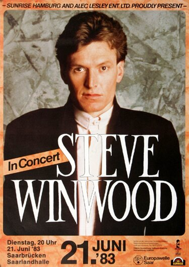 Steve Winwood - Talking Back To The Night, Saarbrücken 1983 - Konzertplakat