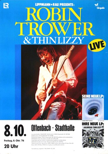 Robin Trower - Long Misty Days, Tour 1976 - Konzertplakat