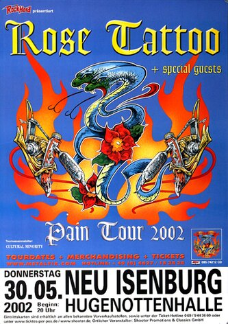 Rose Tattoo - Pain Tour, N-I, 2002 - Konzertplakat