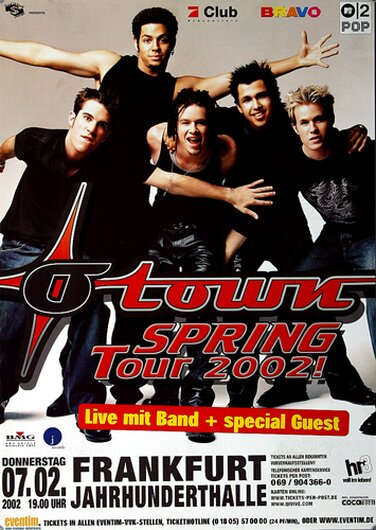 O-Town - The Days, Frankfurt 2002 - Konzertplakat