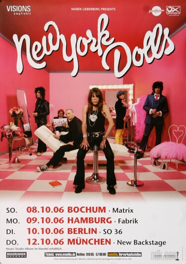 New York Dolls - Dance Like A Monkey, Tour 2006 - Konzertplakat
