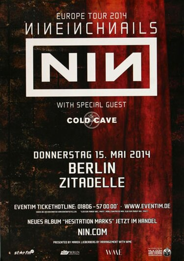 NIN   Nine Inch Nails - Europe Tour, Berlin 2014 - Konzertplakat