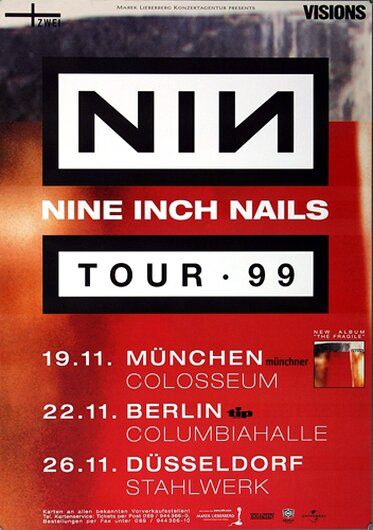NIN   Nine Inch Nails - The Fragile, Tour 1999 - Konzertplakat