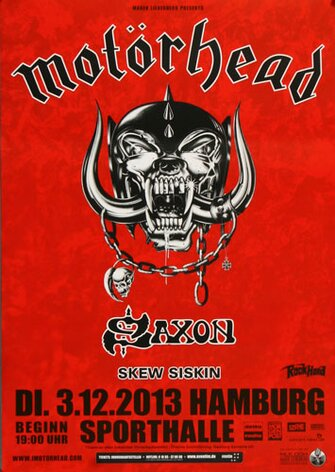 Motörhead - End Of Time , Hamburg 2013 - Konzertplakat
