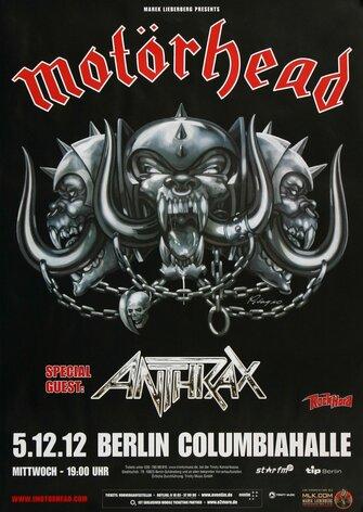 Motörhead  - The Wörld Is Ours, Berlin 2012 - Konzertplakat