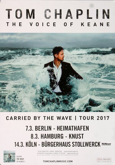 Keane - Tom Chaplin - Carriied By The Wave, Tour 2017 - Konzertplakat