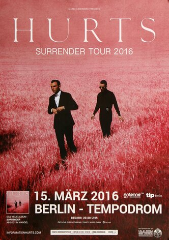 Hurts - Surrender , Berlin 2016 - Konzertplakat