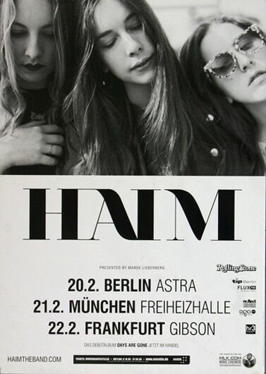 Haim - Dont Save Me, Tour 2014 - Konzertplakat