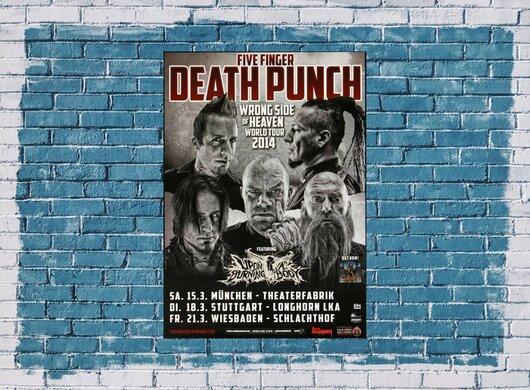 Five Finger Death Punch - Wrong Side , München 2014 - Konzertplakat