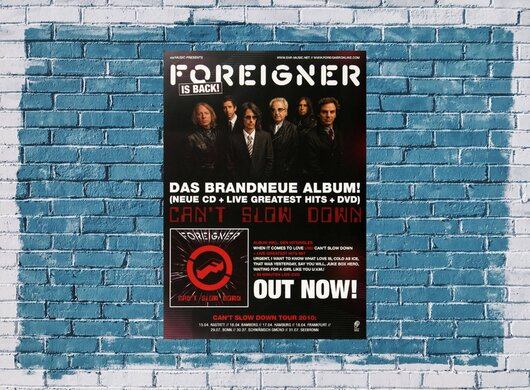Foreigner - Cant Slow Down,  2010 - Konzertplakat