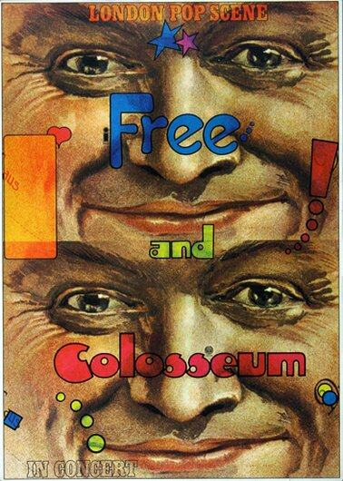Free and Colosseum - Fire And Water,  1970 - Konzertplakat