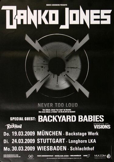 Danko Jones - Below The Belt, Tour 2009 - Konzertplakat