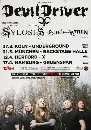 DevilDrivers - Winter Kills, Tour 2014 - Konzertplakat