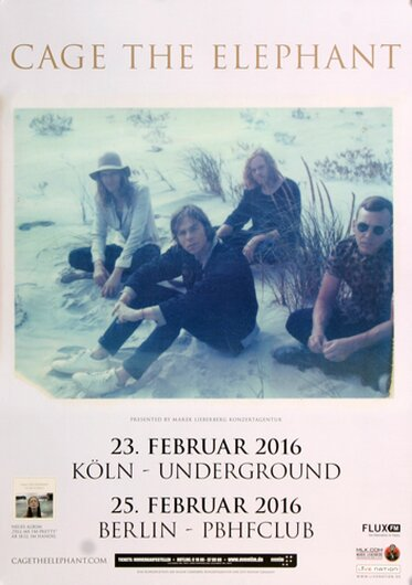 Cage The Elephant - Shock Me, Köln & Berlin 2016 - Konzertplakat