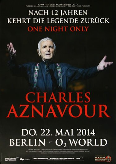Charles Aznavour - One Night Only , Berlin 2014 - Konzertplakat
