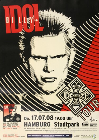 Billy Idol - Your Idolize Self, Hamburg 2008 - Konzertplakat