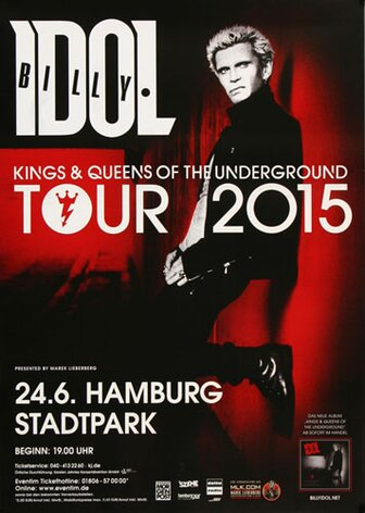 Billy Idol - In Germany , Hamburg 2015 - Konzertplakat