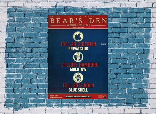 Bear`s Den - Live On Tour, Tour 2013 - Konzertplakat