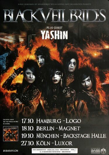 Black Veil Brides - World On Fire, Tour 2011 - Konzertplakat