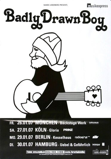 Badly Drawn Boy - Born in the U.K, Tour 2007 - Konzertplakat