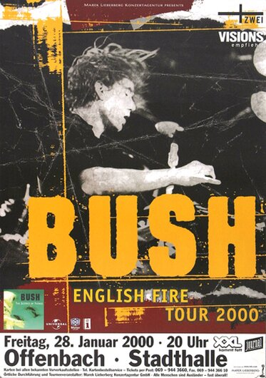 Bush - Science Of Things, Offenbach & Frankfurt 2000 - Konzertplakat