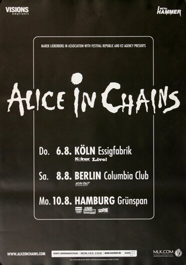 Alice In Chain - All Secrets Known, Tour 2009 - Konzertplakat