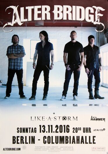 Alter Bridge - Like A Storm , Berlin 2016 - Konzertplakat