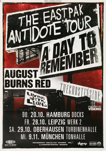 A Day To Remember - The Eastpak, Tour 2011 - Konzertplakat