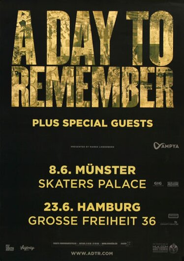A Day To Remember - City Of Ocala, Münster & Hamburg 2015 - Konzertplakat