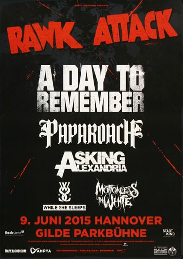 Rawk Attack  - A Day To Remember, Hannover 2015 - Konzertplakat